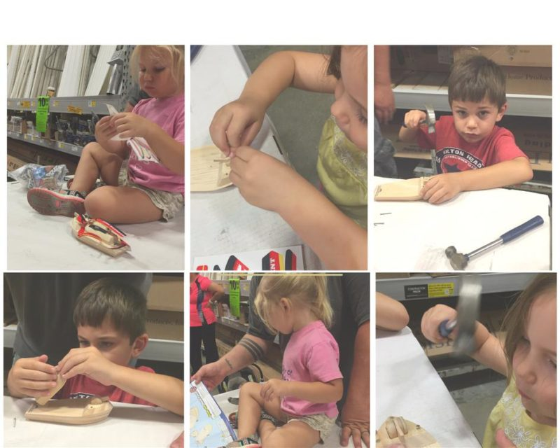 6 pics of kids building a wooden rescue boat